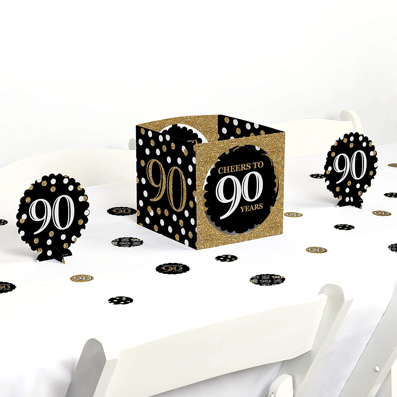 Amazon Com Big Dot Of Happiness Adult 90th Birthday Gold