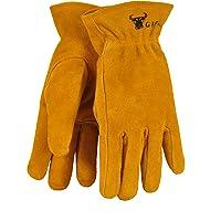 G & F 5013M JustForKids Kids Genuine Leather Work Gloves, Kids Garden Gloves, 4-6 Years Old