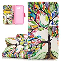 Galaxy A5 2017 Case, ISAKEN PU Leather Cover for Samsung Galaxy A5 2017 - Fashion Colorful Painted Bookstyle Cell Phone Case Luxury Flip Wallet Magnetic Design Mobile Cover Protect Skin Stand Case Pouch with Card Holder - tree of life