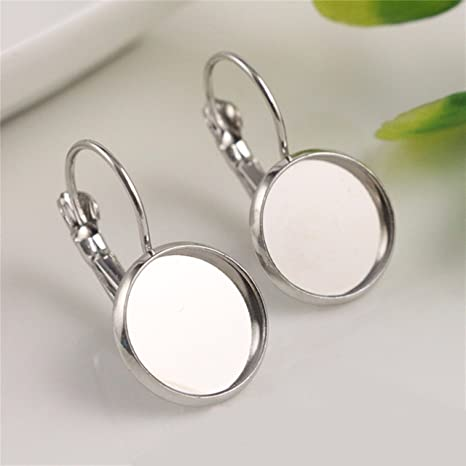 10pcs 12mm French Lever Back Earrings Base Setting Cabochon Earring Blank Trays