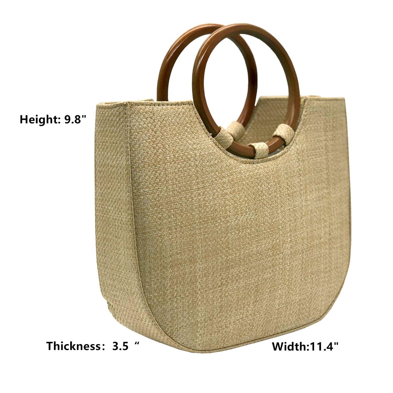 Youndcc Women Woven Straw Bag Rattan Bag Tote Bag Shoulder Bag Crossbody Bag Handbag Beach Bag, Handwoven/Crochet/Round Handle by Youndcc (Image #2)