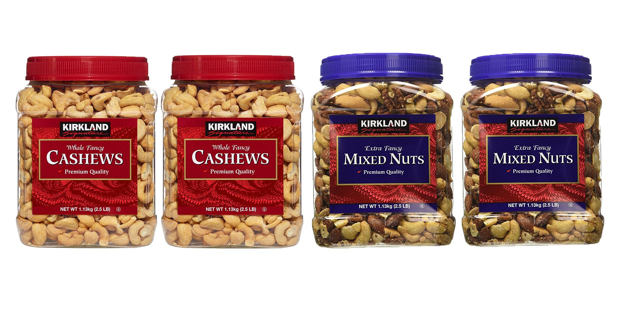 Kirkland Signature Cashews and Mixed Nuts Bundle - Includes Kirkland Signature's Two Whole Fancy Cashews (2.5 LB each) and Two Extra Fancy Mixed Nuts (2.5 LB each)