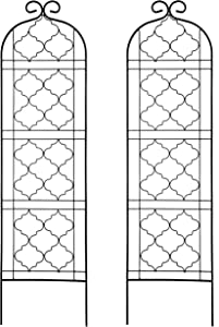 OUTOUR 2 Pack Garden Trellis Plant Support Wire Lattice Grid Panel Stake Fence, 60