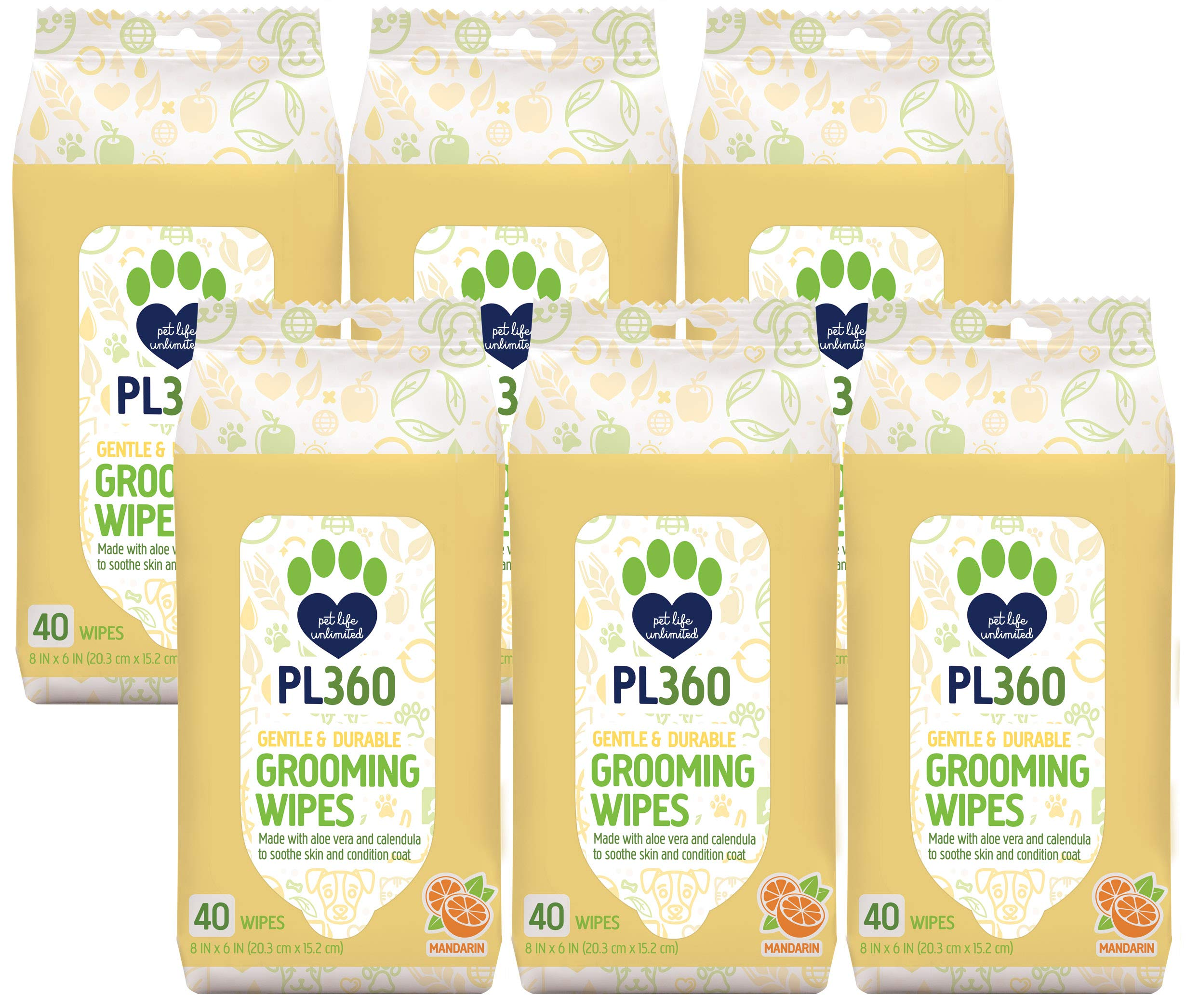 PL360 Dog Grooming Wipes, Mandarin, 240 Count