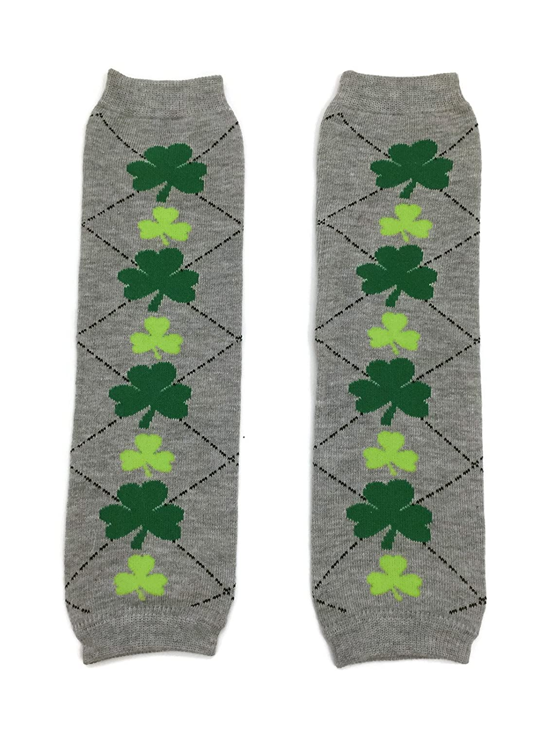 St Patricks Day KWC Gray Argyle /& Green Shamrock Baby Leg Warmer