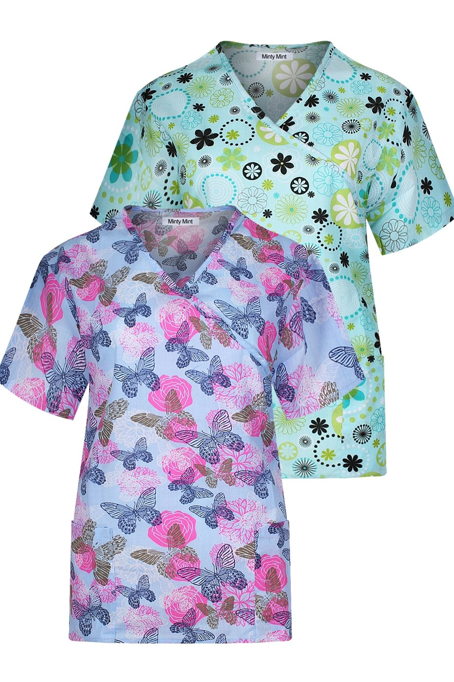 Minty Mint Women's Medical Scrub Set with Printed Wrap Top Multi Pack Blue Green XS