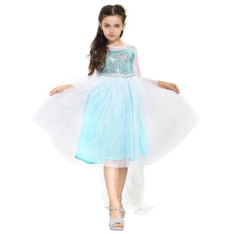 d5e095c4aae Katara - Robe de déguisement Reine des Neiges pour filles avec des  paillettes turquoises et flocon