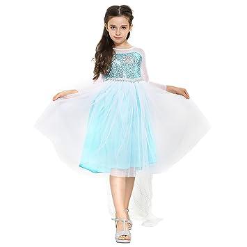 56feb53f045889 Katara 1718 – Eisprinzessin Königin Elsa Mädchen Ball Langarm-Festkleid  Kinder-Kostüm mit Tüll