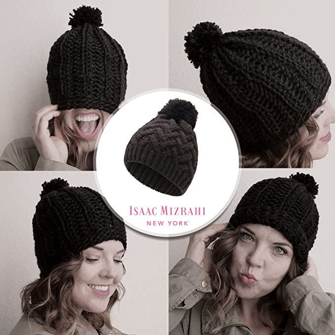 Isaac Mizrahi Black Beanie (Black V Cable Knit with Pom) Women Winter Hats  with Pom Pom at Amazon Women s Clothing store  1317fd49f339