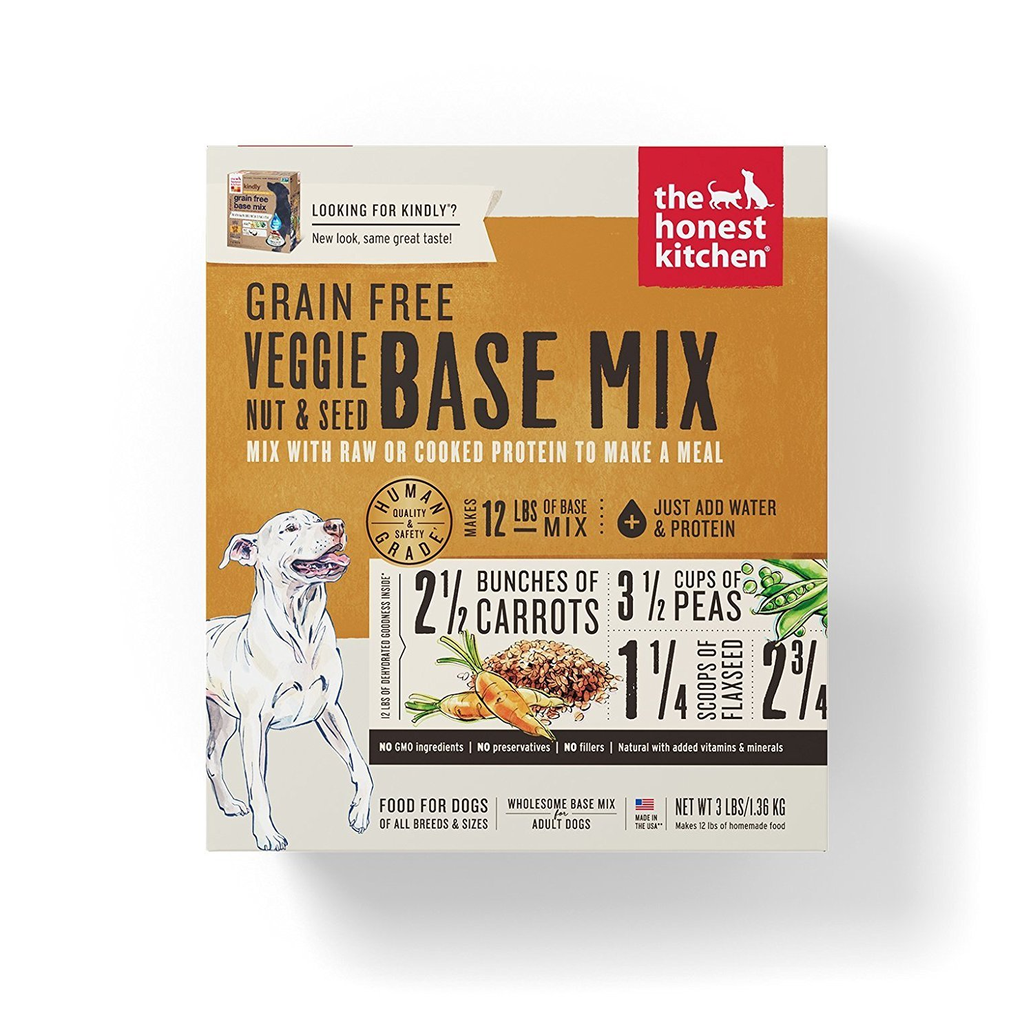 Honest Kitchen Grain Free Veggie, Nut and Seed Base Mix Dog Food 3 lb box - Kindly. Dehydrated Dog Food!!!