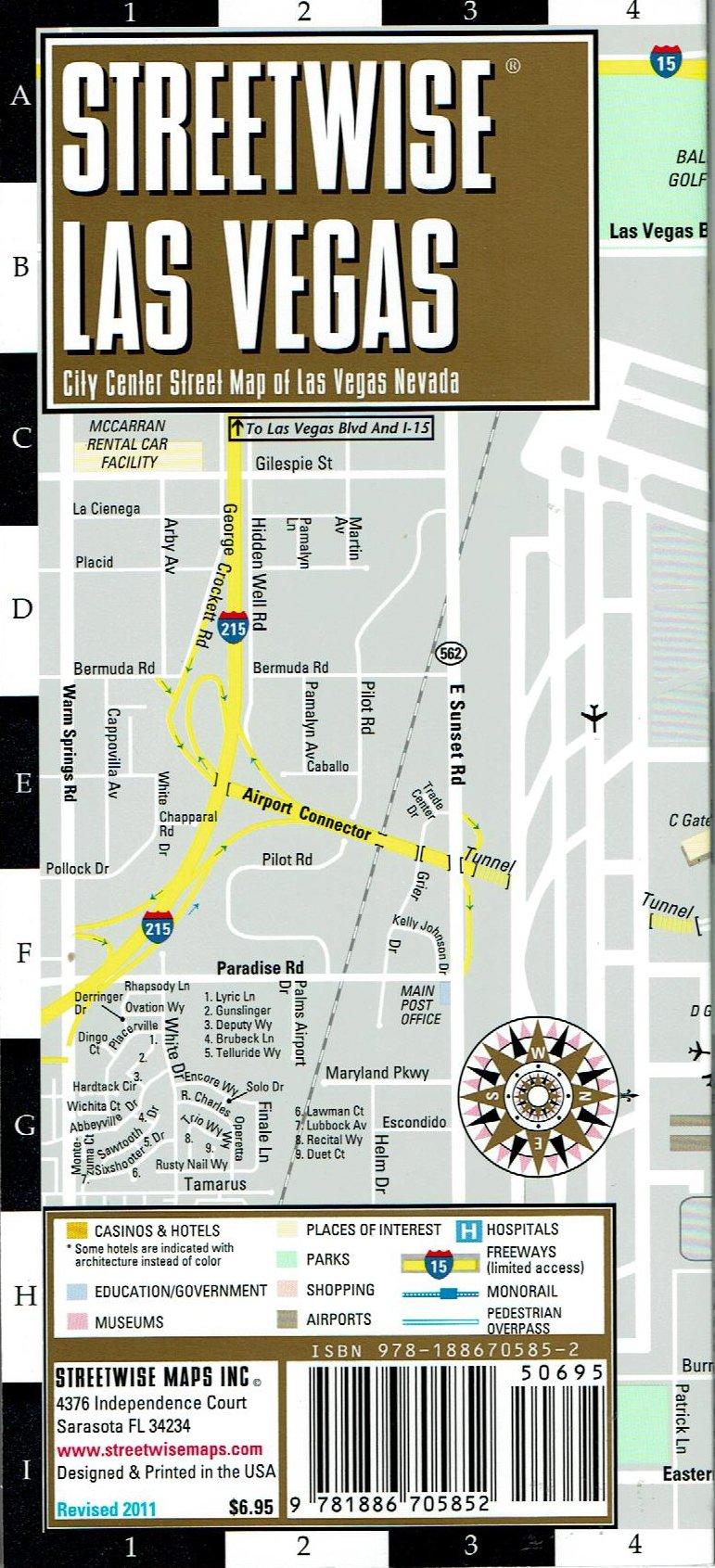 Streetwise Las Vegas City Center Street Map Of Las Vegas Nevada