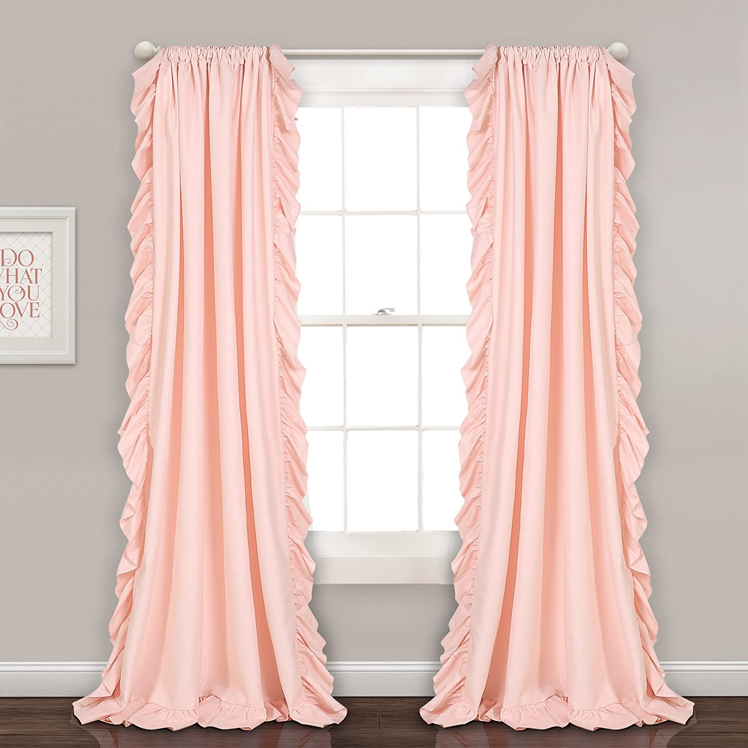 bluesh Pink 95 L Panel Pair Lush Decor Reyna Ivory Window Panel Curtain Set for Living, Dining Room, Bedroom (Pair), 108  x 54 L