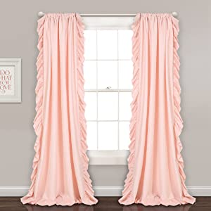 "Lush Decor Reyna Window Curtains Panel Set for Living Room, Dining Room, Bedroom (Pair), 84"" x 54"", Blush Pink"