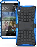 Heartly Flip Kick Stand Spider Hard Dual Rugged Armor Hybrid Bumper Back Case Cover For HTC Desire 826 - Power Blue