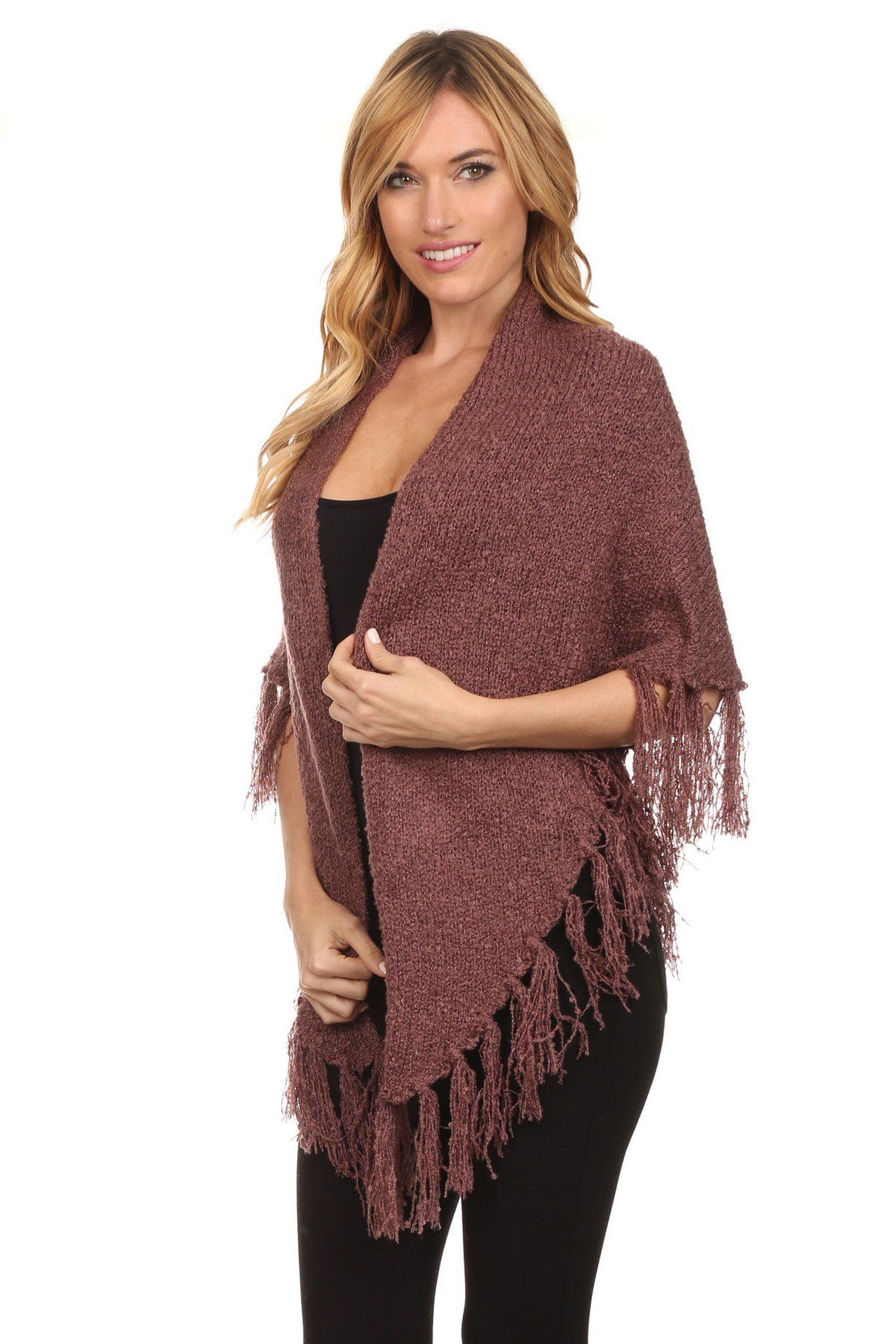 ICONOFLASH Women's Casual Sweater Knit Fringed Fashion Scarf Wrap, Mauve