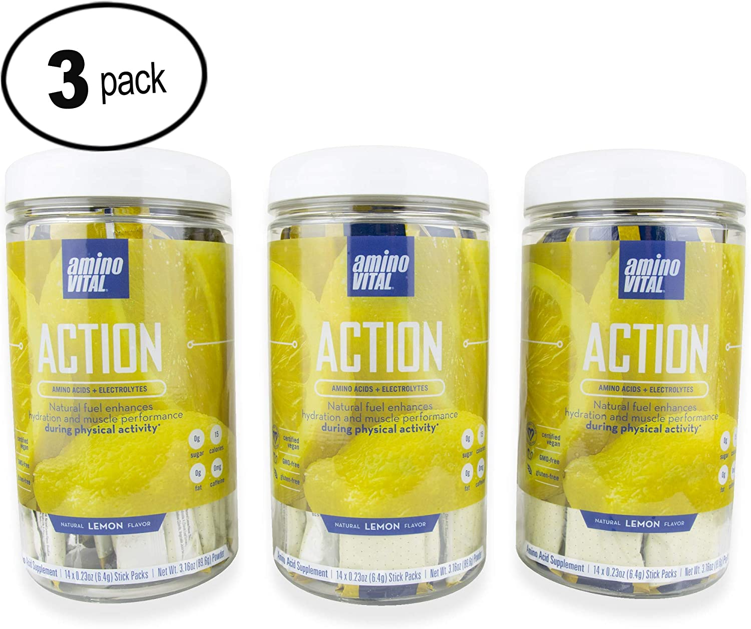 Amino VITAL Action Fermented Vegan BCAAs Amino Acid Powder Electrolytes in Single Serve Packets Keto Friendly Supplement with Glutamine Arginine Lemon 3 Canister Bundle