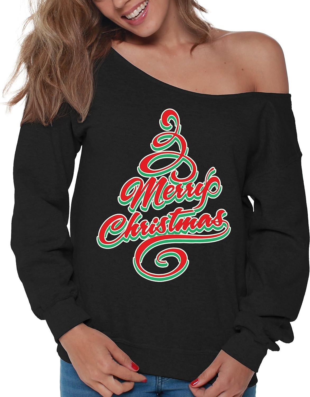 Vizor Merry Christmas Off Shoulder Sweatshirt Ugly Christmas Sweater for Women