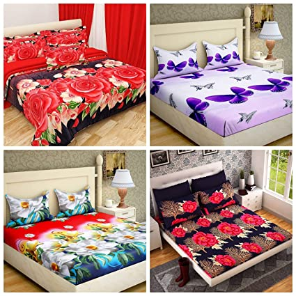 RS Home Furnishing Combo of 100% Premium Cotton Floral Printed King Size Double 4 Bedsheet with 8 Pillow Covers Multi Colour