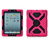 Pepkoo Ipad 2/3/4 Case Plastic Kid Proof Extreme Duty Dual Protective Back Cover with Kickstand and Sticker for Ipad 4/3/2 - Rainproof Sandproof Dust-proof Shockproof (Pink/black)