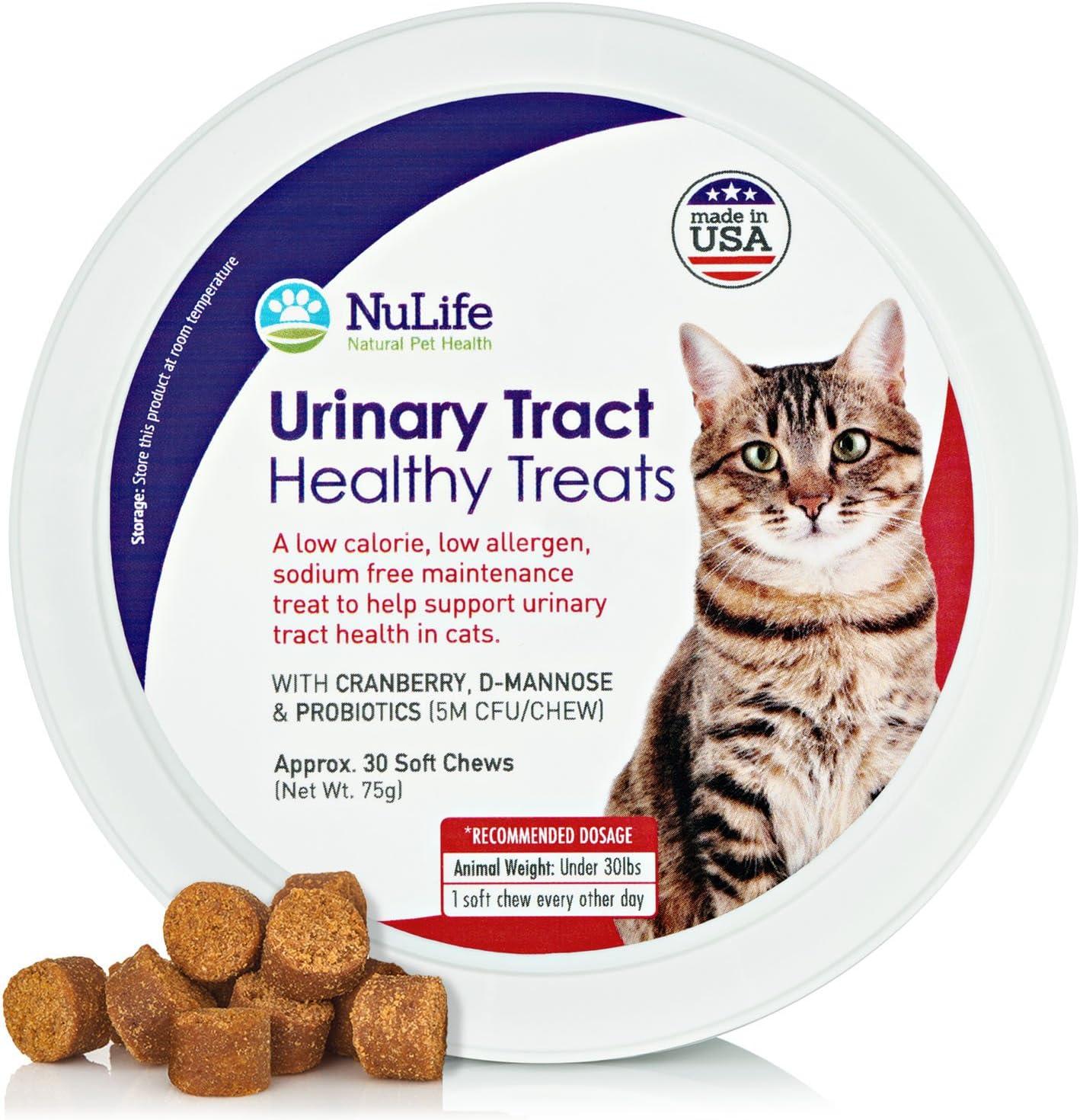 Tratamiento para la salud del tracto urinario de gato, soporte para riñones y vejigas para felinos, evita dolorosas UTI, no más antibióticos o fugas, con arándano, D-manosina y probióticos, 30 golosinas con