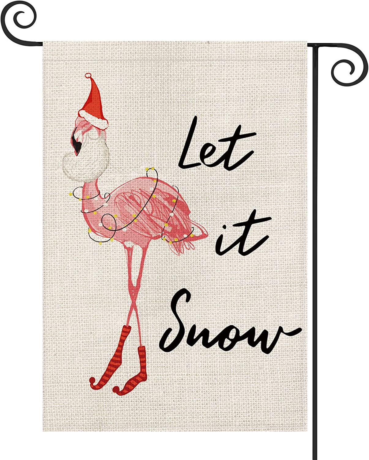 AVOIN Christmas Let It Snow Pink Flamingo Garden Flag Vertical Double Sized, Winter Holiday Party Red Hat Yard Outdoor Decoration 12.5 x 18 Inch