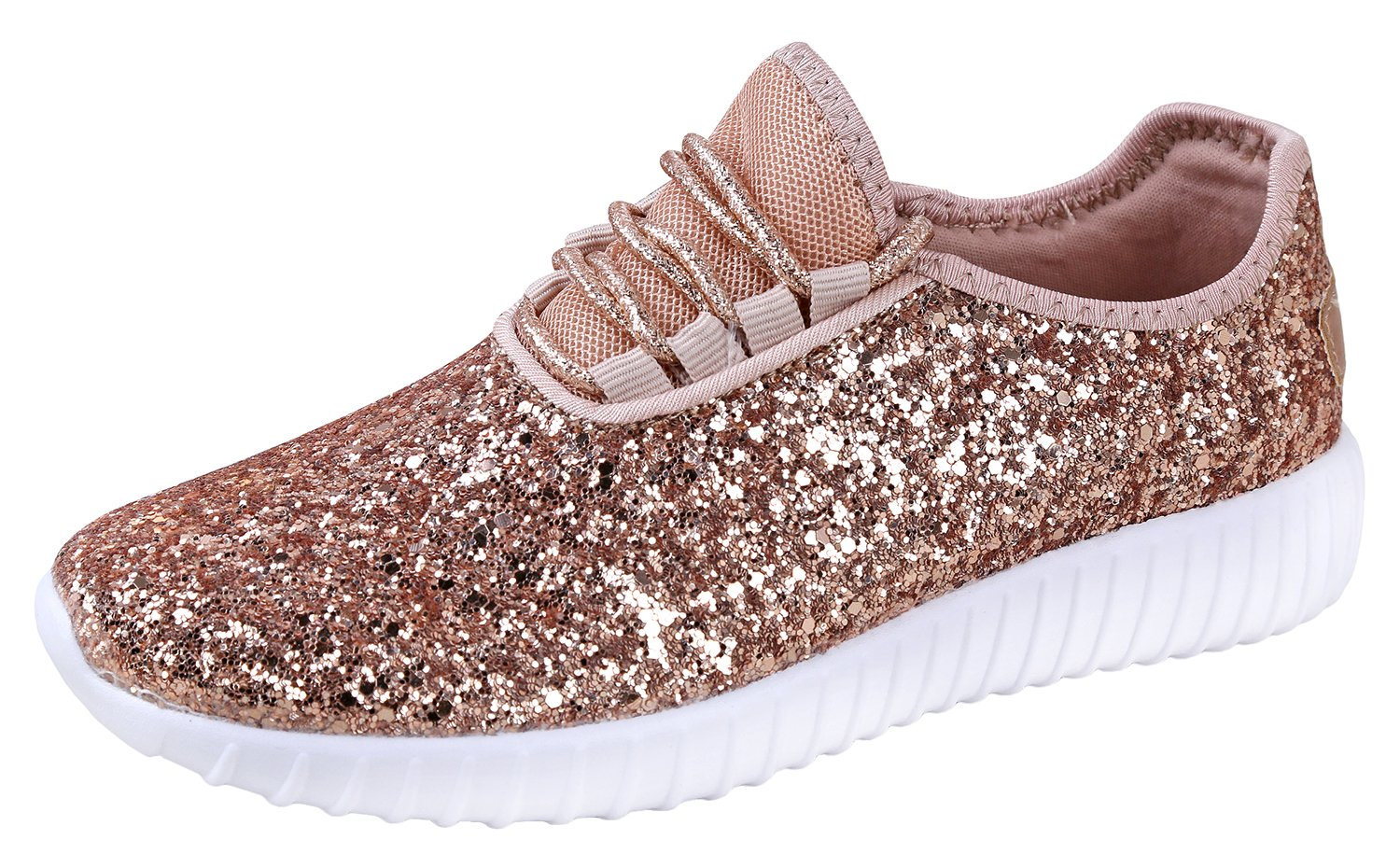 JKNY Kids Girls Fashion Metallic Sequins Glitter Lace up Sneakers Rose Gold 9