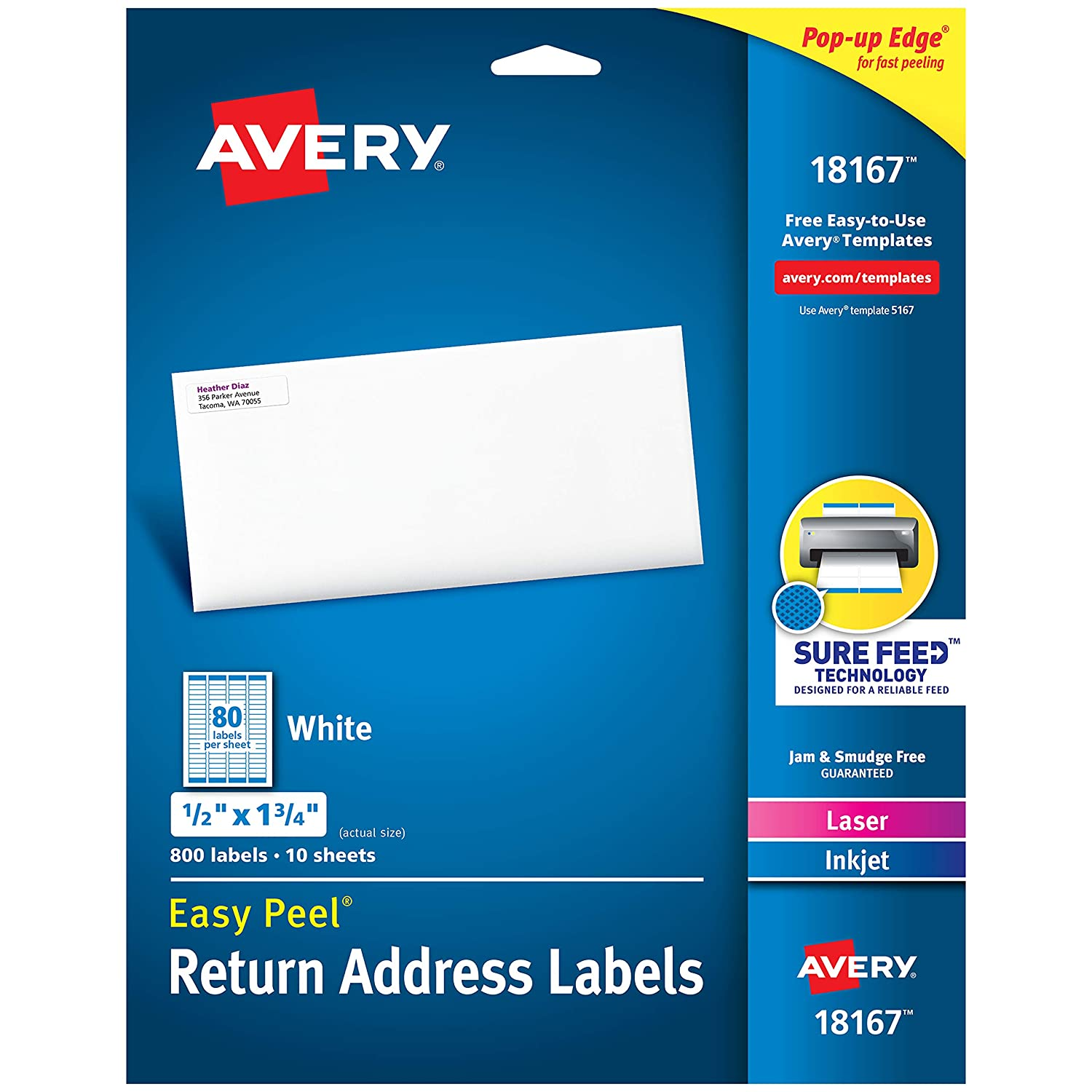 """B00004Z5C5 Avery Address Labels with Sure Feed for Inkjet Printers, 0.5"""" x 1.75"""", 800 Labels, Permanent Adhesive (18167), White 81FdKE5l8YL"""