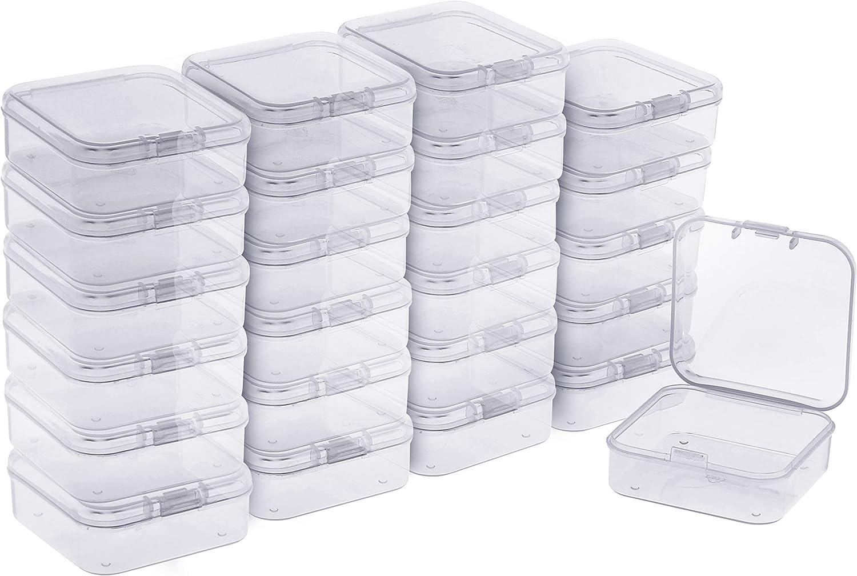 BELLE VOUS Mini Cajas Plastico (Pack de 24) - (5,3x5,3x2cm) Transparente Cuadrado Almacenamiento de Plástico Caja con Tapa para Diminuto Abalorios, Joyas Hallazgos, Pastillas, Pequeñas Artículos