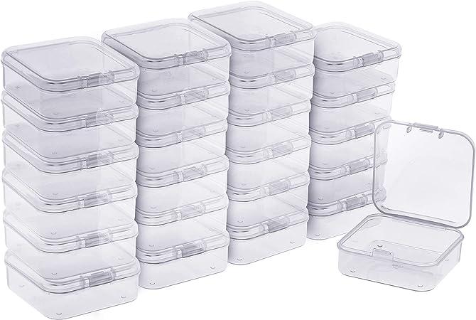 BELLE VOUS Mini Cajas Plastico (Pack de 24) - (5,3x5,3x2cm) Transparente Cuadrado Almacenamiento de Plástico Caja con Tapa para Diminuto Abalorios, Joyas Hallazgos, Pastillas, Pequeñas Artículos: Amazon.es: Hogar