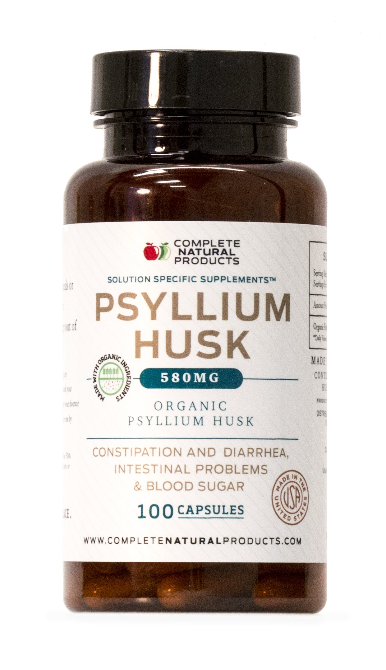 Organic Natural Whole Psyllium Husk Powder Capsules - 580mg Capsules 100 Pure Unflavored Fiber & Colon Cleanse Pills