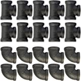 "20 Pack 3/4"" Inch Threaded Pipe Fittings (10 Elbows, 10 Tees) Decor Cast Iron Black Pipe Floor Threaded Pipe Fitting Industrial Steampunk Vintage Retro Furniture DIY Wall Plumbing"