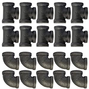 "20 Pack – Brooklyn Pipe 1/2"" Black Pipe Fittings (10 Pipe Elbows, 10 Pipe Tees) 