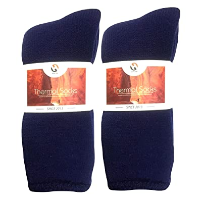 2PK Winter Thermal Socks for Women Men Youth- Warm Soft As Cashmere (Navy Crew Length, L/XL) at Amazon Women's Clothing store