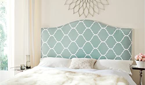 ModHaus Modern Chic Arch Aqua and White Upholstered Queen Headboard with Lattice Pattern Silver Nailheads Includes ModHaus Living TM Pen