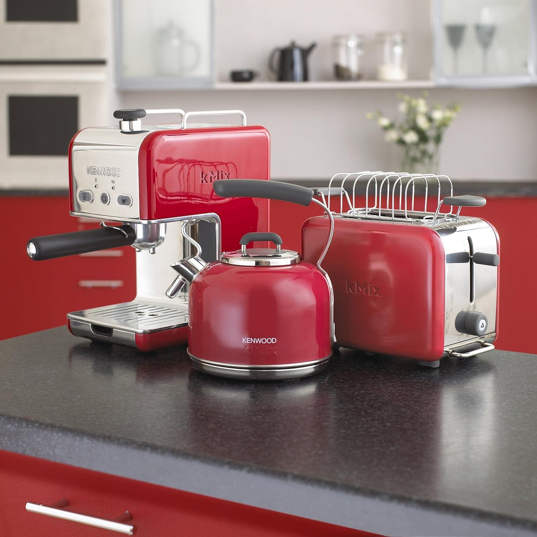 Kenwood ES 021 kMix - Máquina de café espresso con portafiltros, 1100 W, 15 bares, color rojo: Amazon.es: Hogar