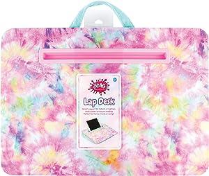 "Three Cheers for Girls - Pastel Tie Dye Faux Fur Lap Desk - Portable Lap Pillow Desk for Kids with Media Slot - 12"" x 16.9"" Lap Desk for Laptop, Tablets, & Notebooks"