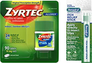 Zyrtec Relief Tablets, 90 Count and Benadryl Extra Strength Itch Relief Stick, Bundle Pack, 2 Items
