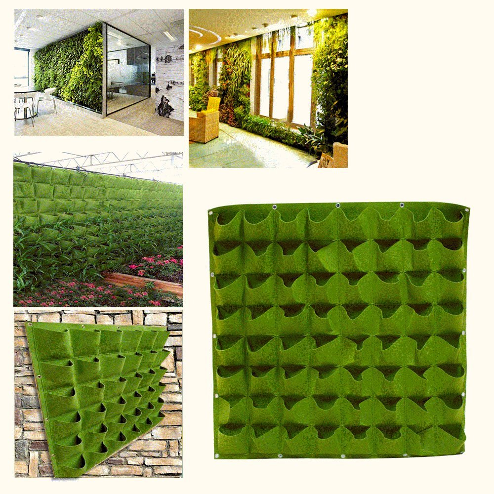 Vertical Living Wall 64 Pockets Vertical Garden Planter Living Wall Hanging Planter Planting  Bags Outdoor Indoor Vertical Greening Grow Bags Flower Growing Container,  Green