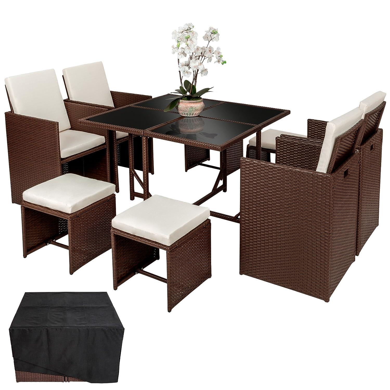 TecTake Poly Rattan Aluminium Sitzgruppe Cube | 4 Stühle 1 Tisch 4 Hocker | Schutzhülle & Edelstahlschrauben | Mixed Braun