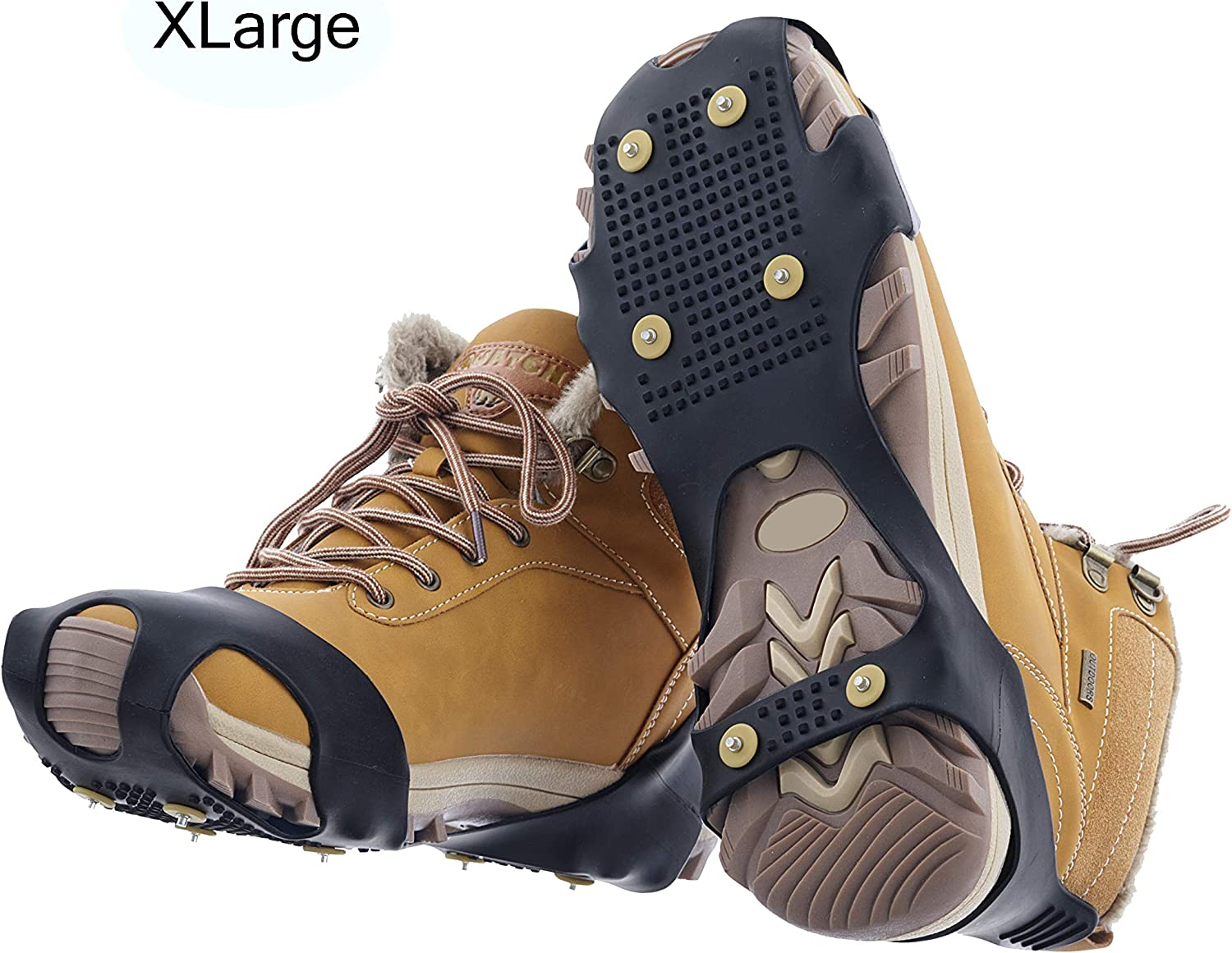 6 Anti-Slip Studs Protection Hike or Walk Traction Cleat Rubber Spikes Superio Snow Ice Cleats Snow Grips Shoe and Boot Cleats Easy Slip-On Grip Rubber Ice Snow Mud Teeth Cleats