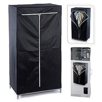 Faltschrank schwarz Textil Kleiderschrank Garderobe Gaderobenschrank ...