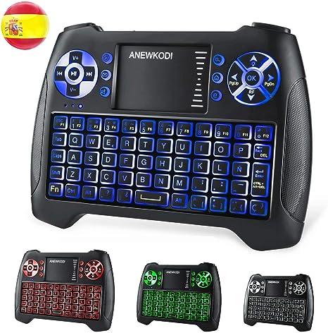 ANEWKODI T16 Mini Teclado Retroiluminado Teclado Inalámbrico con Touchpad Mini Keyboard de Juegos Controlador 2.4GHz Teclado Ergonómico con Ratón para Smart TV, PC, Android TV Box, HTPC, IPTV, XBOX: Amazon.es: Informática