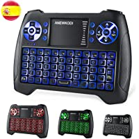 ANEWKODI T16 Mini Teclado Retroiluminado Teclado Inalámbrico con Touchpad Mini Keyboard de Juegos Controlador 2.4GHz…
