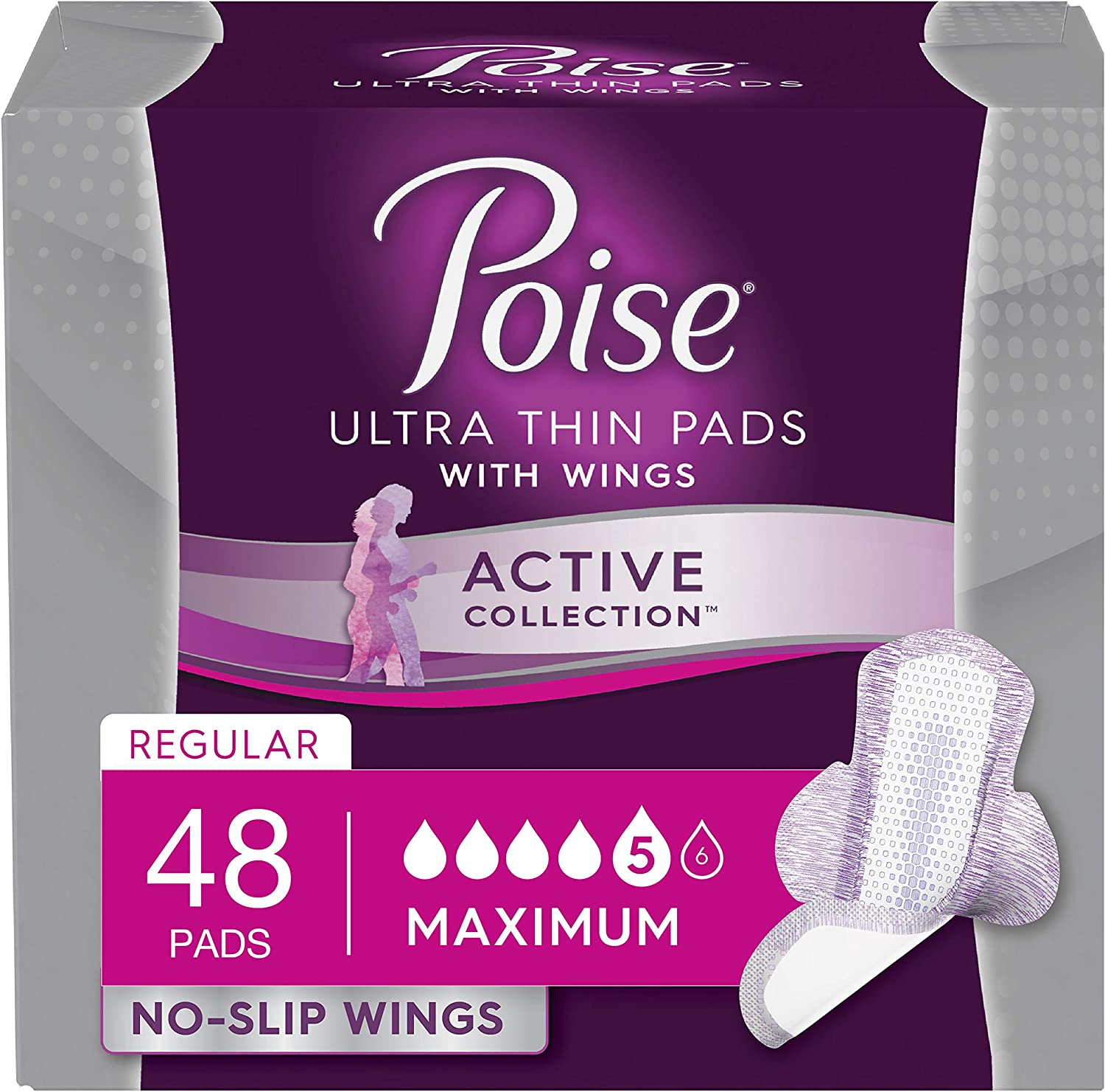 Poise Active Collection Incontinence Pads with Wings, Maximum Absorbency, 12 Count (Pack of 4) - Packaging May Vary