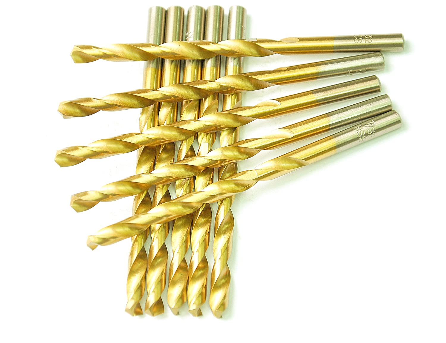 DRILLFORCE HSS Jobber Length 10 PCS,1/4' x 4'Titanium Coated Twist Drill Bits, Metal drill, ideal for drilling on mild steel, copper, Aluminum, Zinc alloy etc. Pack In Plastic Bag (1/4) 1/4 x 4Titanium Coated Twist Drill Bits