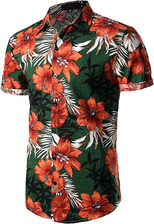 INTERESTPRINT Mens Button Down Baseball Jersey Old Compass on Floral