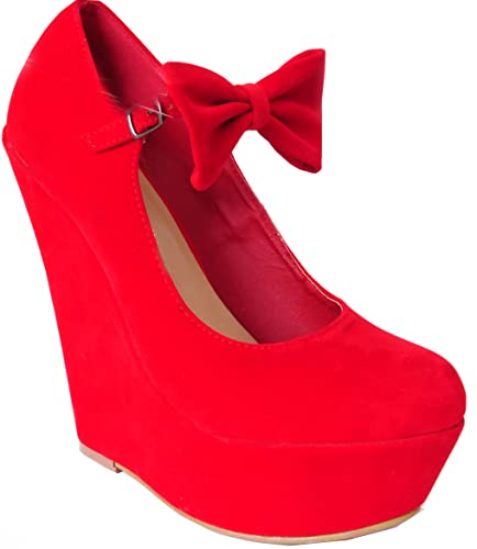 Ladies Womens Bright Red Bow Detail High Heels Platforms Wedges