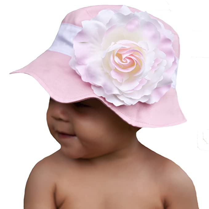 8c32a5ae8dd Melondipity s Pink Lemonade Baby Sun Hat with Pink and White Shaded Girl  for Baby Girls and