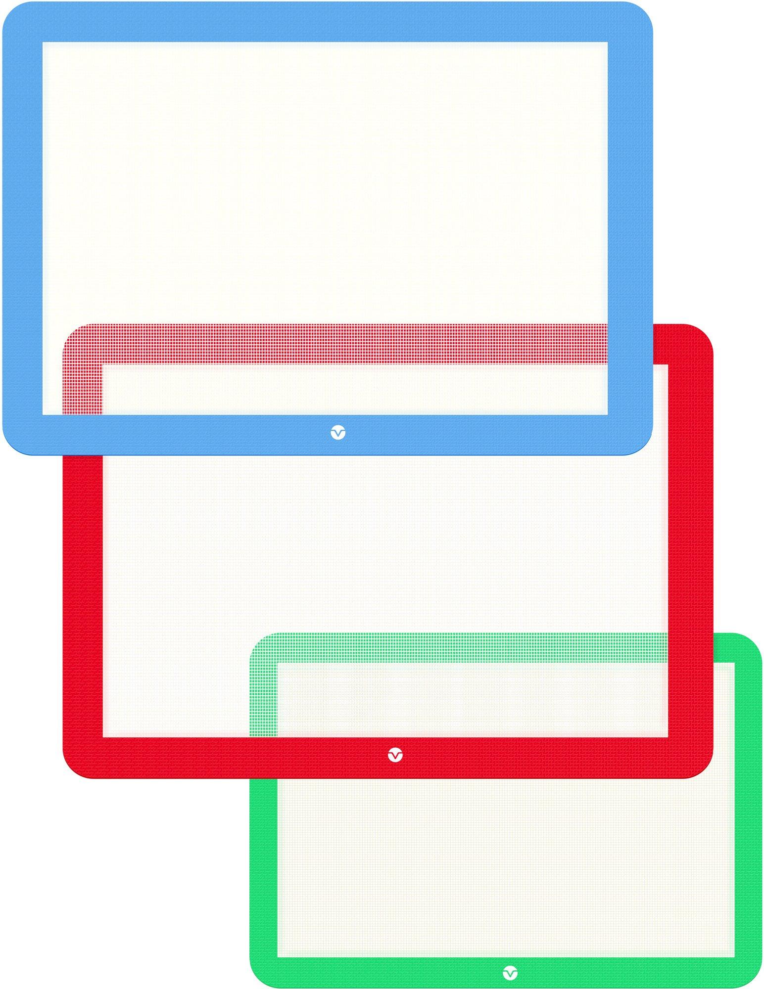 Vremi 3 Piece Silicone Baking Mat Set - Silicone Mat for Baking Sheets Nonstick - Half Quarter Sheet Silicone Baking Mats for Cookie Sheet Pans - Rolling Silicone Baking Sheet Non Stick Cooking Mats by Vremi