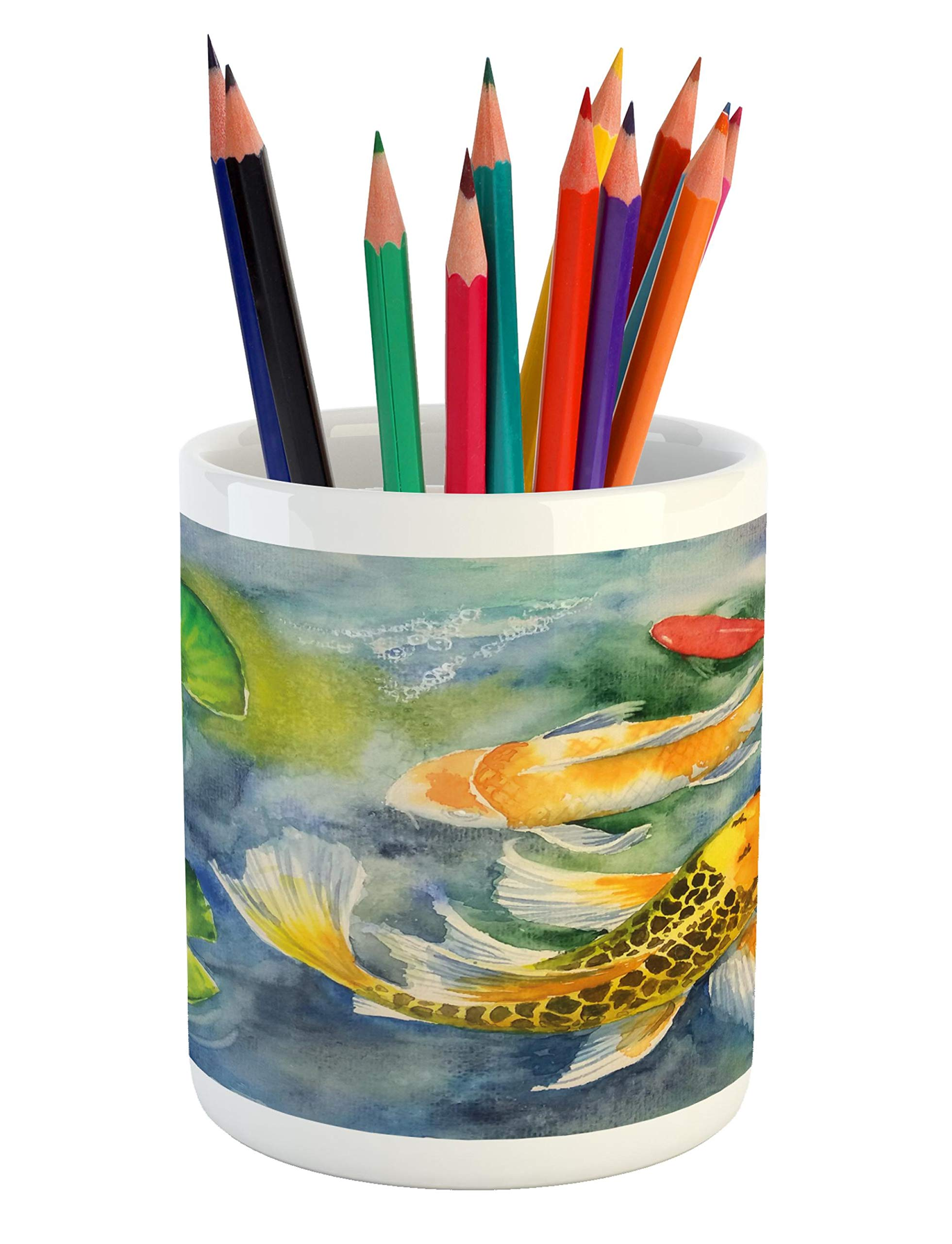 Lunarable Koi Fish Pencil Pen Holder, Lillies Marine Life Colorful Watercolor Drawing of Divine Asian Animal, Printed Ceramic Pencil Pen Holder for Desk Office Accessory, Violet Blue Multicolor